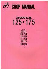 HONDA CD125 CD125A SS125A CL125A CD175 CD175A ORIG. 1967 FACTORY WORKSHOP MANUAL