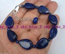 13x18mm & 6mm Natural Egyptian Lapis Lazuli Drop Gemstone Pendant Bracelet 7.5''