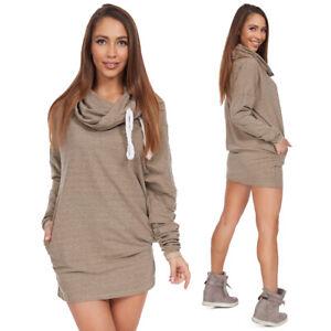 Casual Women Mini Chimney Dress With Long Sleeve Ladies Loose Plain Tunic FT3180