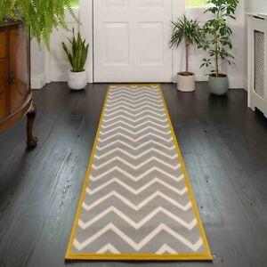New Long Silver Grey Ochre Yellow Hall Runner Rugs Soft Chevron Hallway Runners