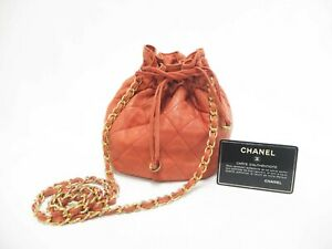 Authentic CHANEL Matelasse Drawstring Bag Chain Shoulder Purse Red