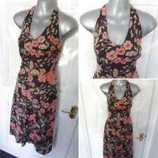 ❤ FAT FACE Ladies Size 8 Brown Pink Floral Halterneck 100% Cotton Sun Dress