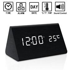 Zeekoo Dual Power Wooden LED Digital Alarm Clock, Displays Time Date And Tempera