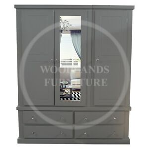 HANDMADE DEWSBURY TRIPLE MIRRORED 4 DRAWER IN GREY, MANY COLOURS (ASSEMBLED)