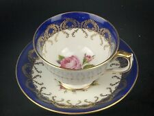 More details for cobalt and gold pink rose footed tea cup and saucer by aynsley