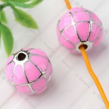 5x Pink Enamel Disco Ball Spacer Loose Beads Findings Fit Jewelry Making