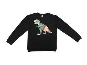 "Members Mark Boys Size 14/16 L/S ""Dino"" Pullover Sweater, Black"