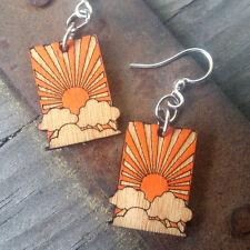 Sunrise Morning Rays Lightweight Laser Cut Wood Earrings by Green Tree Jewelry