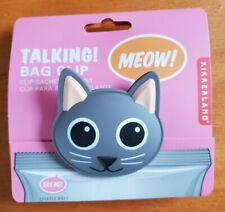 Kikkerland Talking Cat Bag Clip MEOW Kitty Cat Sound NEW Chip Snack Clip Squeeze