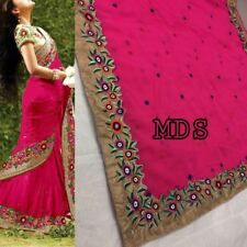 Pink Indian Bollywood Designer Georgette Saree Embroidery Sari Party Wear Dress