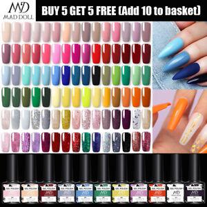 MAD DOLL 8ml UV Gel Nagellack UV LED Soak Off Nail Varnish Top Base Coat Colour