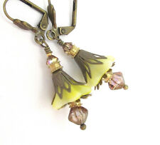 YELLOW FLOWER EARRINGS TRUMPET Lily Drop Austrian Crystals Lever Back Brass