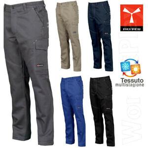 Pantaloni da Lavoro Multistagione Payper Worker TAGLIE FORTI 100% Cotone TASCHE