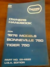 New Listing1976 Triumph Bonneville, Tiger 750, T140V, Oif, Oem, Owners Handbook,