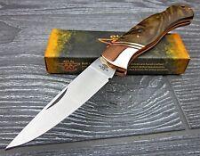 OLD FORGE Brown Wood Handles Lockback Copper Bolster Folding Pocket Knife