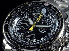 New in box Seiko Flightmaster Men's Black Dial Chronograph Watch SNA411