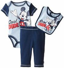 NWT Disney Baby Boys' Mickey Three-Piece Bodysuit Bib and Pant Set, 6 month