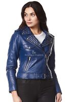 ROCKSTAR Ladies Real Leather Jacket Blue Studded Rock Chic Soft Biker Style 4326