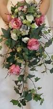 Vintage Brides Cascading Wedding Bouquet Rose Hydrangea Ivy Ranunculus Silk