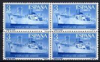 Bloque de Cuatro sellos de España 1956 Exposición flotante Buque 1191 nuevos