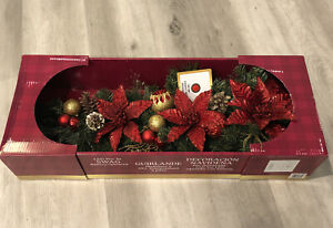 Pre-Lit Swag  With 20 LED Lights & Poinsettia's & Pinecones - Battery Operated