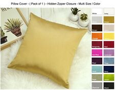 Aiking Home Solid Faux Silk Euro Sham / Throw Pillow COVER, ( Pack of 1 )