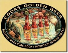COORS GOLDEN BEER WATERFALL BREWIANA TIN SIGN 12.5 x 16