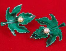 RARE Scatter Pin Pair VTG c1950's GENUINE PEARL & GREEN ENAMEL MAPLE LEAF LEAVES