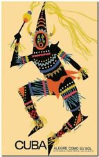 "Vintage Travel Poster CANVAS PRINT ~ Cuba tribal man design 36""x24"""