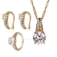 Elegant zircon Gold Plated fashion jewelry set Necklace Pendant+earring+ring New