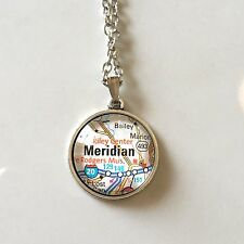 TOPTON MERIDIAN BAILEY MISSISSIPPI USA Map Pendant Vintage necklace ATLAS