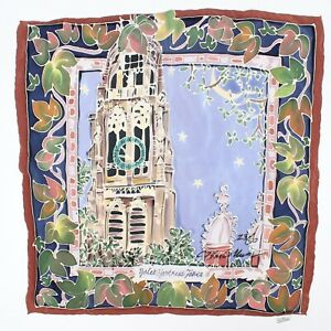 Yale's Harkness Tower Mens Silk Pocket Square Brown Blue Green 23/50 LTD Edition