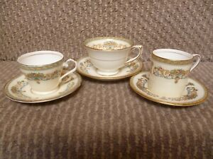3 X AYNSLEY HENLY CUPS AND SAUCERS