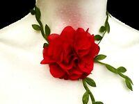 Red Rose Choker Collar Necklace Peasant Gothic Bohemian Retro Handmade Vintage