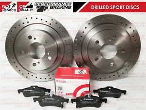 FOR HONDA CIVIC FK TYPE R 2015- REAR PERFORMANCE DRILLED DISCS BREMBO BRAKE PADS