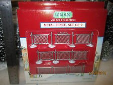 "TRAIN GARDEN VILLAGE HOUSE ""METAL FENCE SET of 9 ACCESSORY  + DEPT 56/LEMAX info"
