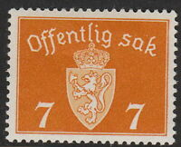 Stamp Norway Official Sc O22 1937 WWII Dienst Coat of Arms MNH