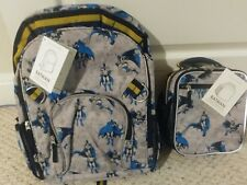 3p Pottery Barn Kids Batman Large Backpack Pencil Case Classic Lunch Bag Box NWT