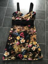 MOTEL ROCKS  SMALL SHORT BLACK FLORAL STRAPPY DRESS WITH MESH DESIGN WAISTBAND