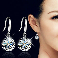 Fashion Women Silver Plated Ear Hook Crystal Zircon Rhinestone Earrings Jewelry