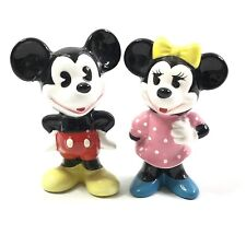 Vintage Disney Mickey & Minnie Mouse Figurines Made in Japan Pink Dress