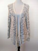 Moth Womens White Gray Open Waterfall Front Knit Cardigan Sweater Size XL