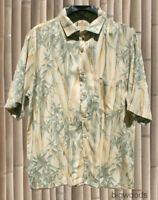 Vintage Jamaica Jaxx Hawaiian Aloha Shirt Tropical Bamboo 100% Silk XL