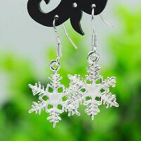 925 Silver Sterling Crystal Snowflake Drop Dangle Earrings Xmas Studs Jewelry