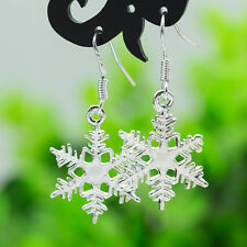 925 Silver Sterling Crystal Snowflake Drop Dangle Earrings Xmas Studs Jewelry