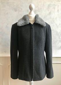 Vintage ZETA Charcoal Grey Wool Fur Collar Winter Classic Tailored Coat 16