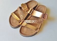 Womens REFRESH rose gold metallic glitter footbed sandals 7.5 shoes slip on