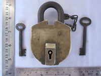 Old or antique SOLID BRASS PadLock LOCK trick or puzzle with 2 key