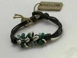 """NWT Uno de 50 Silver-plated WheatGrain/Green Crystal Bracelet """"Sowing"""""""