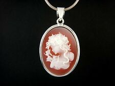 925 Sterling Silver Victorian Lady Red Cameo Big Oval Pendant 6gr